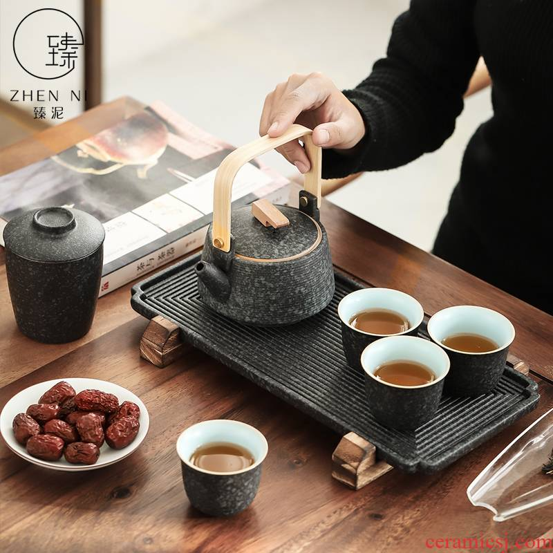 By Japanese tea set coarse pottery mud contracted household girder pot set of dry tea set tea bags are small suit the box office