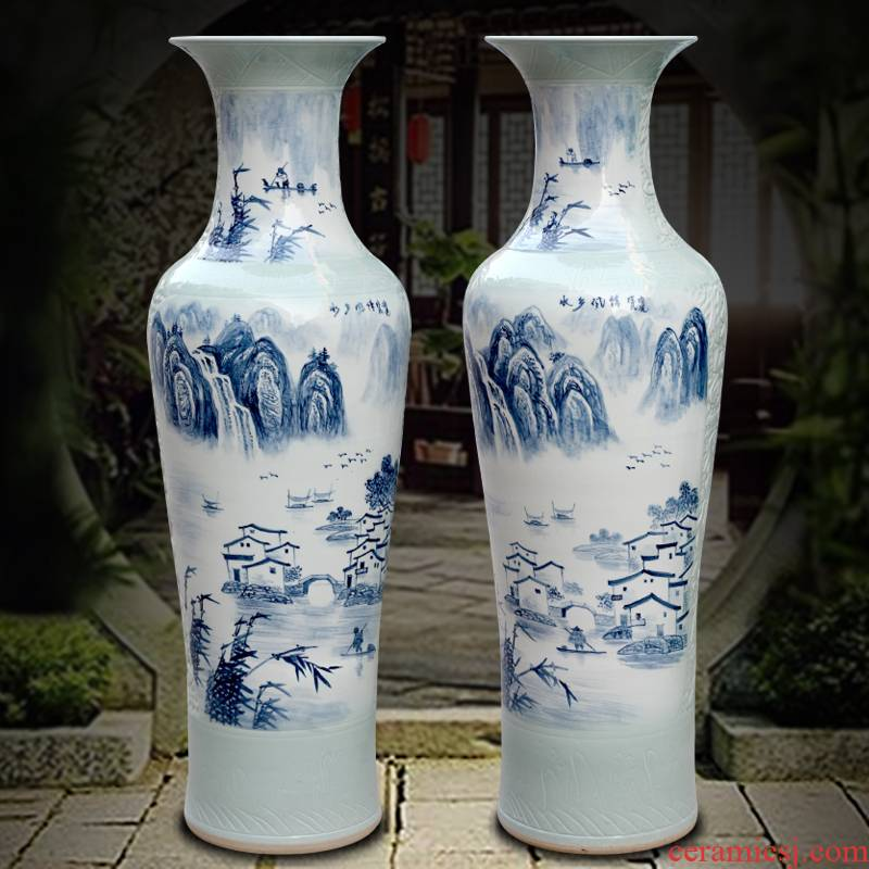 Hand is the jingdezhen blue and white porcelain ceramic vase home sitting room floor furnishing articles study adornment