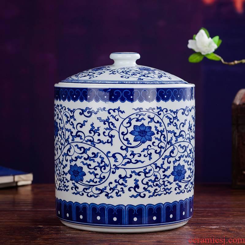 Jingdezhen ceramics with cover barrel ricer box m tea pot snack containers porcelain porcelain jar insect - resistant moistureproof 10 jins