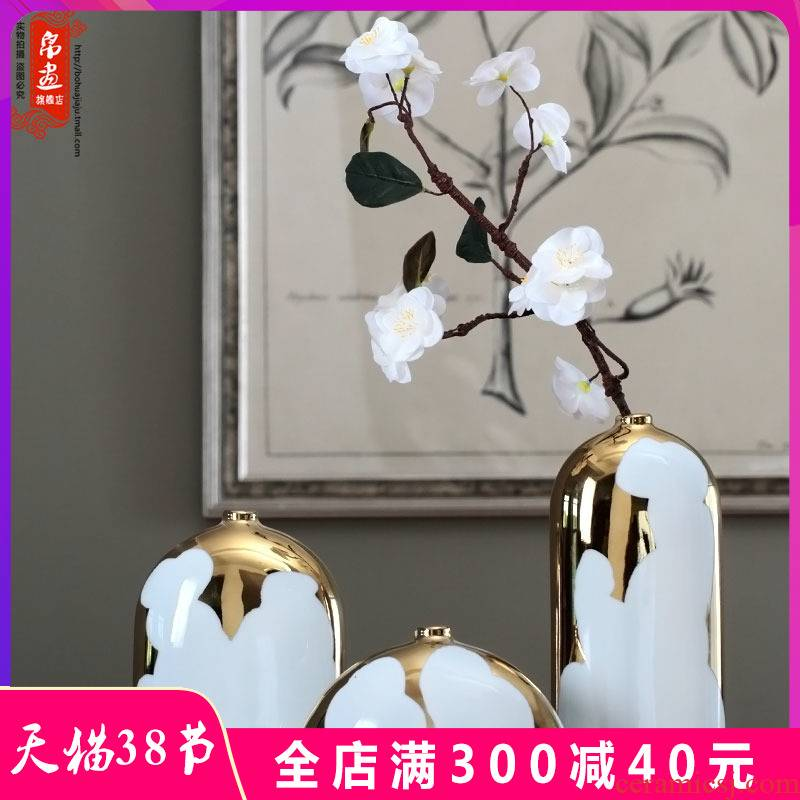 Jingdezhen ceramic checking gold - plated flower household act the role ofing is tasted furnishing articles flower arranging TV ark, decoration decoration