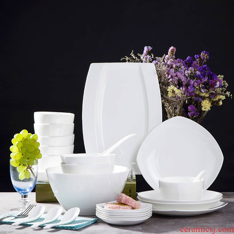 Jingdezhen ceramic tableware suit Chinese contracted household ceramics Korean dishes dishes pure white 29 head fish dish