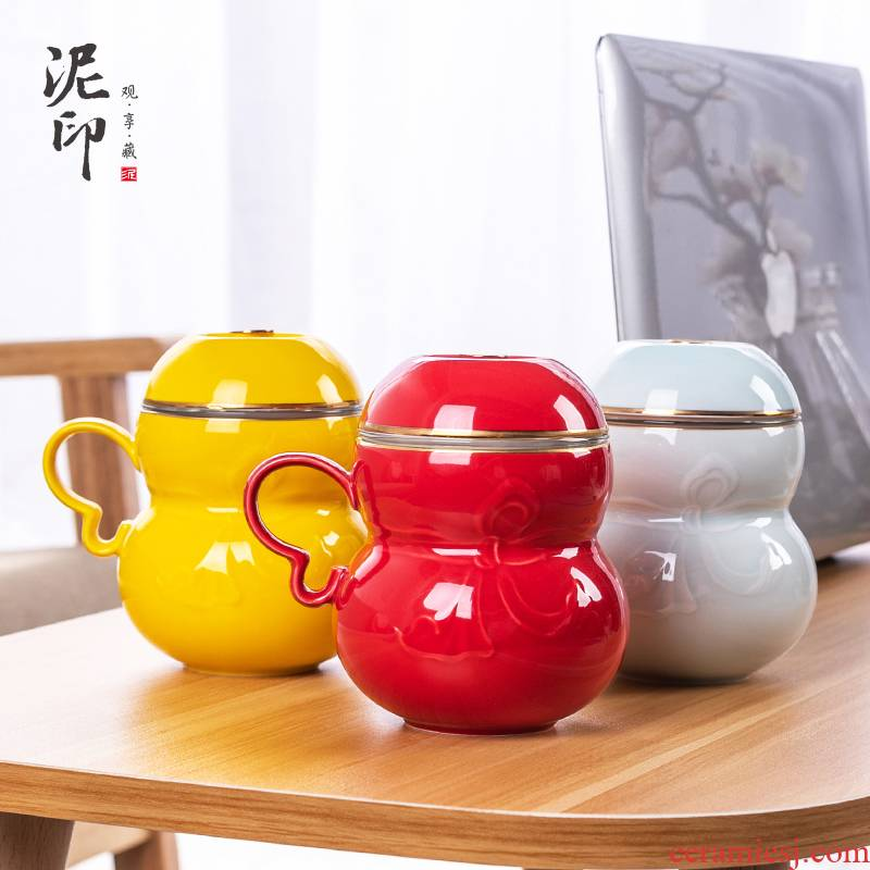 Mud seal gourd office of ceramic filter with cover individual cup home office creative move cup tea cup