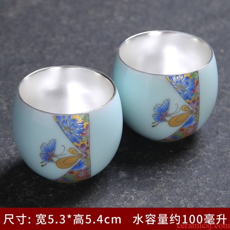 Celadon single pot of tea cups of tea set contracted to girder sample tea cup mat jingdezhen ceramic kung fu tea set home