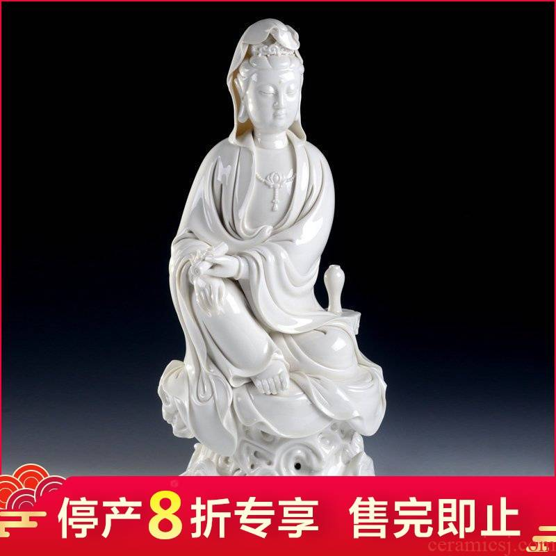 Dehua white porcelain production is pulled from the shelves 】 【 guanyin Buddha worship that occupy the home furnishing articles/big sit rock the goddess of mercy