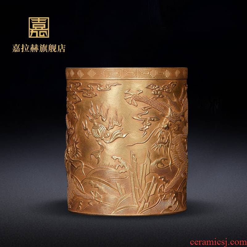 "Jia lage jingdezhen ceramics YangShiQi pure gold dragon carving ""four appliance stationery pen container study furnishing articles"