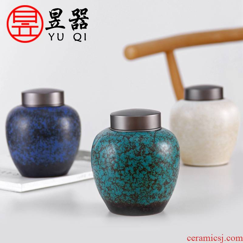 Yu is coarse porcelain tin cover some ceramic household store tea loose tea caddy fixings seal pot tea accessories and tea