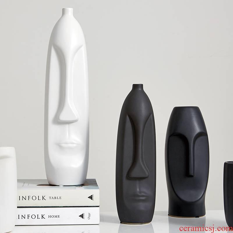 The Nordic idea face vases, ceramic flower arrangement table of I sitting room adornment furnishing articles of TV ark, wine accessories