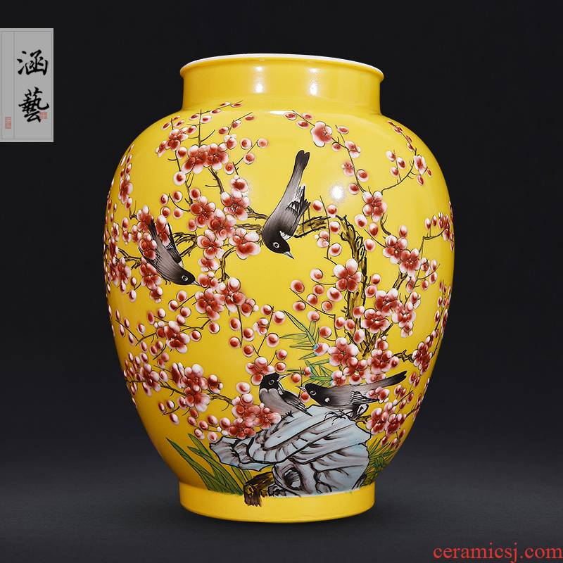 Jingdezhen ceramics vase new Chinese TV ark, creative decorations furnishing articles furnishing articles sitting room ikebana arts and crafts