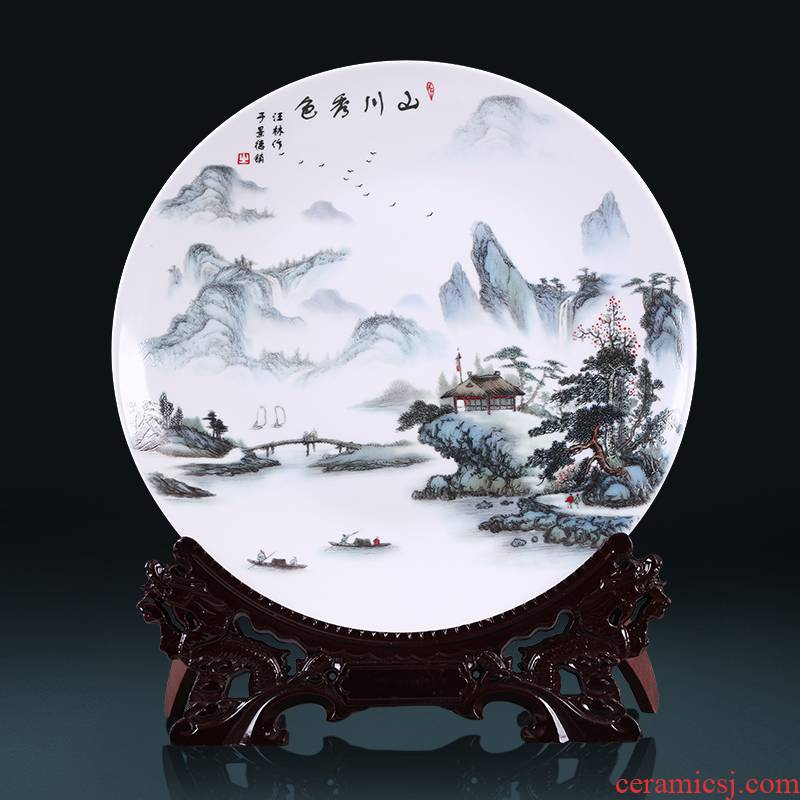 Hang dish of jingdezhen ceramics decoration plate of Chinese style household wine rich ancient frame adornment handicraft furnishing articles sitting room