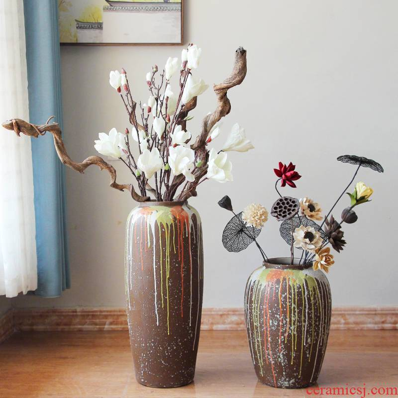 The Flow of jingdezhen glaze vase landing restoring ancient ways coarse dry flower, flower implement some ceramic jar jar earthenware do old big flowerpot soft