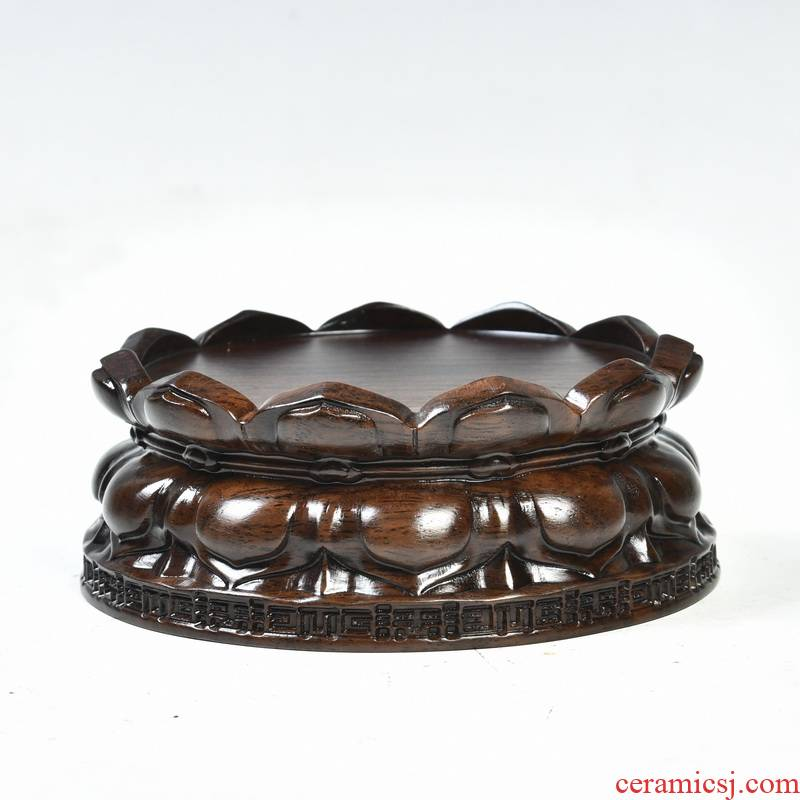 Ebony woodcarvings lotus lotus base solid wood round bodhisattva guanyin Buddha base base, stone base