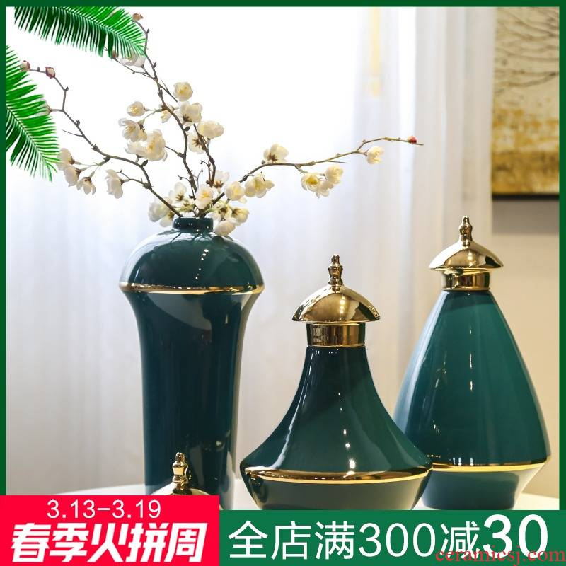 Jingdezhen new Chinese style originality three - piece gold - plated vase flower implement general light tank furnishing articles European key-2 luxury piggy bank