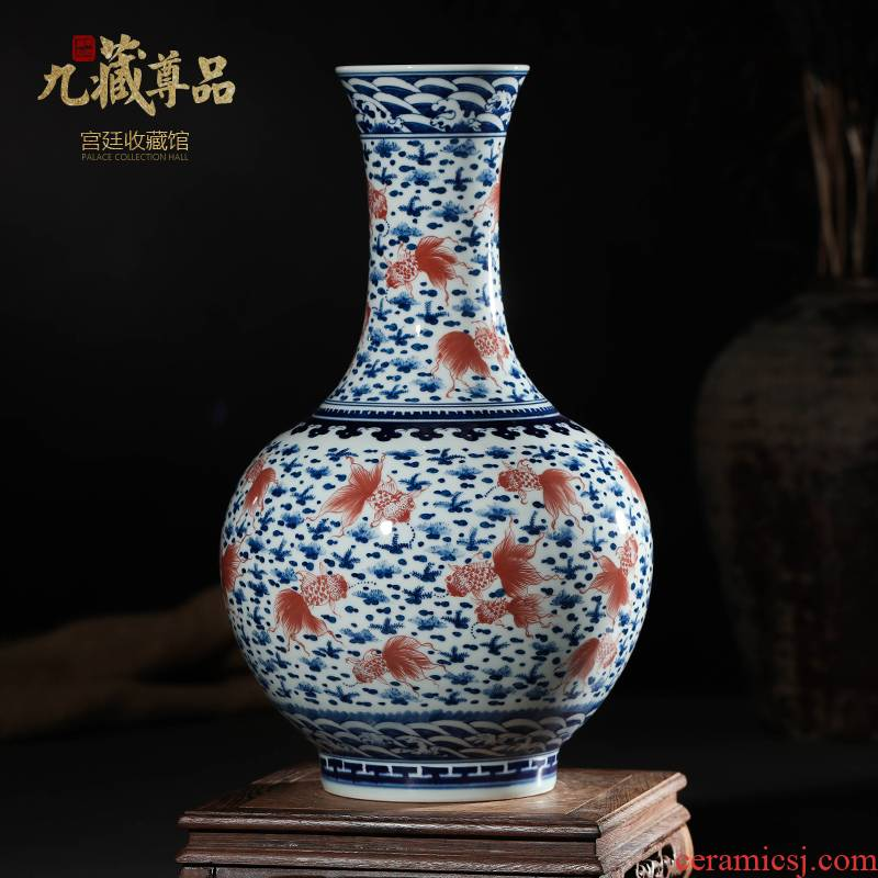 Jingdezhen ceramics imitation the qing qianlong blue - and - white youligong red fish grass flat bottles of new Chinese style sitting room adornment is placed