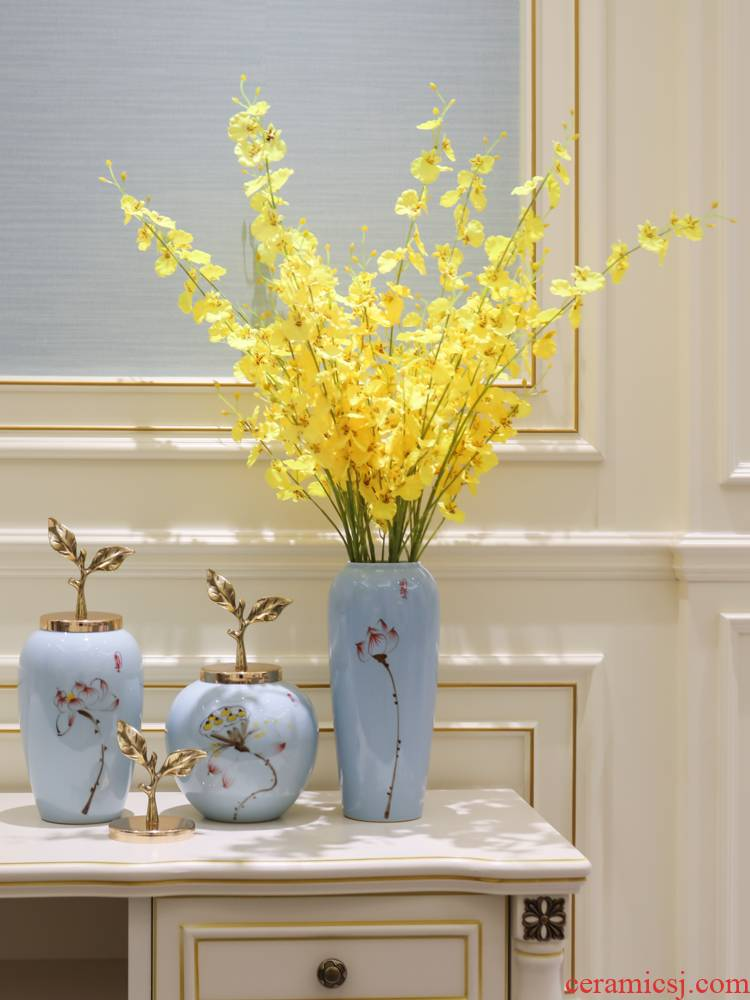 The new Chinese vase furnishing articles bronze sitting room simulation dried flowers flower arrangement ceramic table porch decoration home decoration
