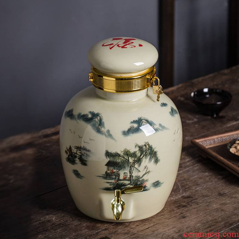5 jins of Jingdezhen mercifully wine bottle seal (jin jars it home empty wine bottle ceramic jars
