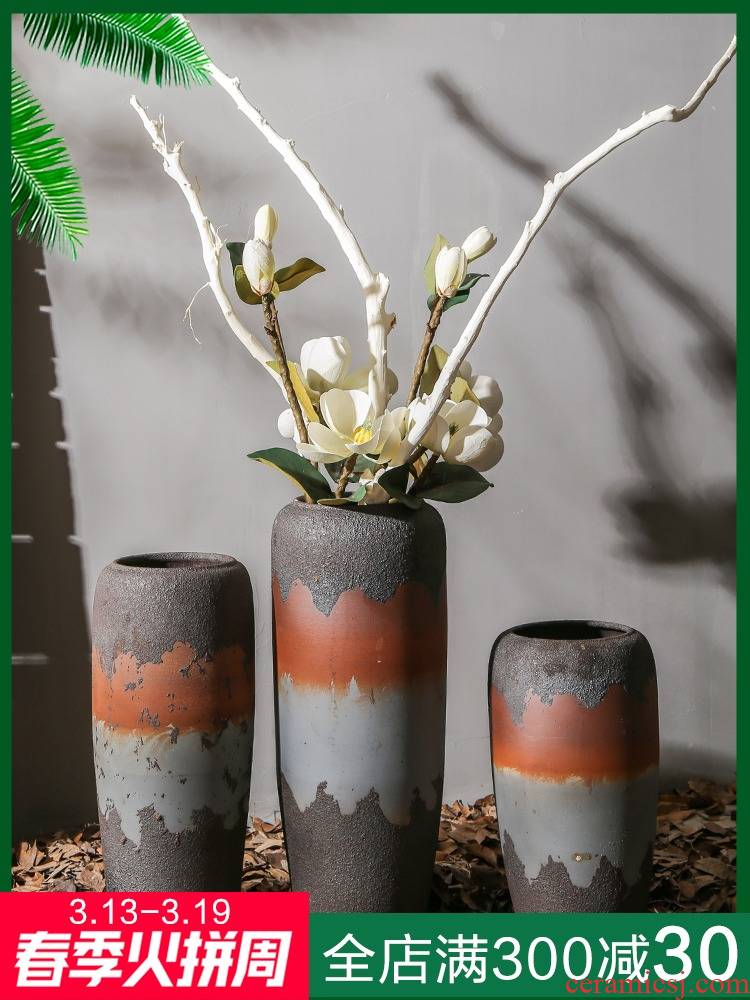 Coarse pottery retro nostalgia of large vase cafe store decoration decoration of jingdezhen ceramic flower implement between example