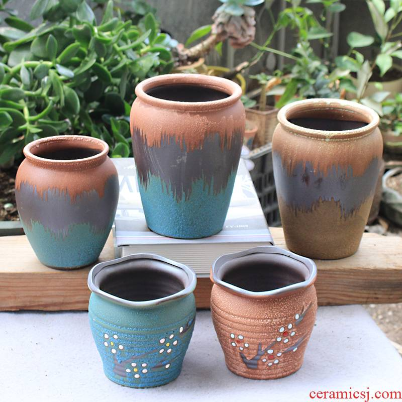 Meaty plant pot ceramic flower POTS, fleshy contracted character coarse old running high pot mercifully glaze ceramic purple wizard