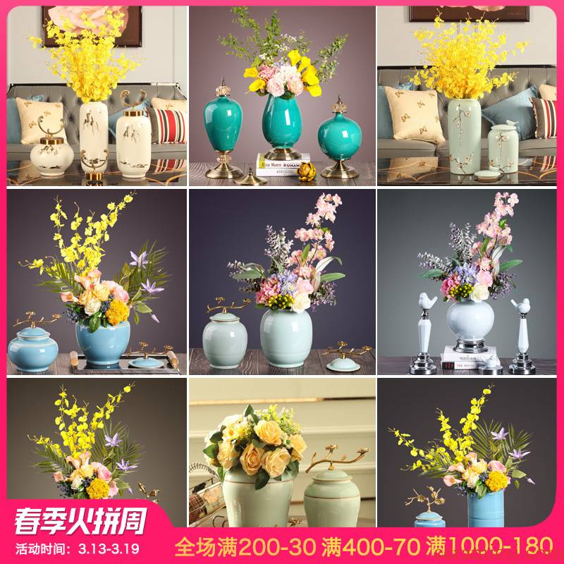 The New Chinese vase furnishing articles sitting room flower arranging flowers European modern example room table soft ceramic handicraft ornament