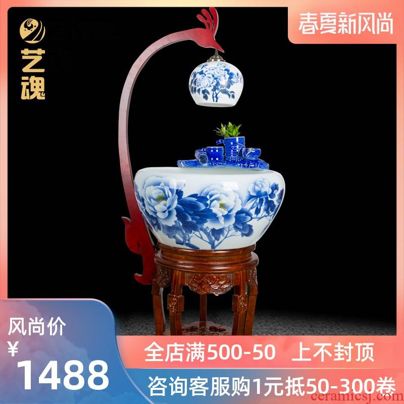 Jingdezhen ceramic ornamental fish tank water modern household geomantic lucky turtle cylinder loop filter and humidifying fish bowl