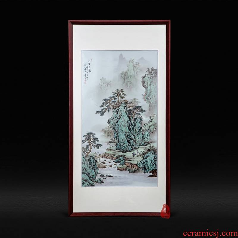 Jingdezhen ceramics Zhou Xiaohui hand - made family adornment famille rose porcelain plate paintings hanging painting the living room in the mountains furnishing articles