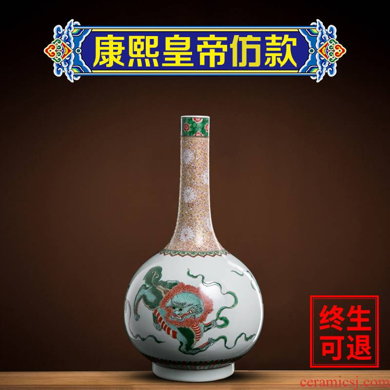 Ning home furnishing articles sealed up with Chinese jingdezhen porcelain three lions grain gall bladder household art antique vase decoration