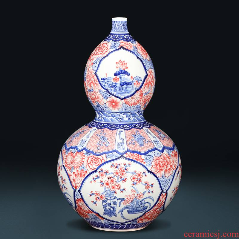 Imitation of qianlong hand - made of blue and white porcelain of jingdezhen ceramics sweet fortune gourd vases and Chinese style furnishing articles large living room