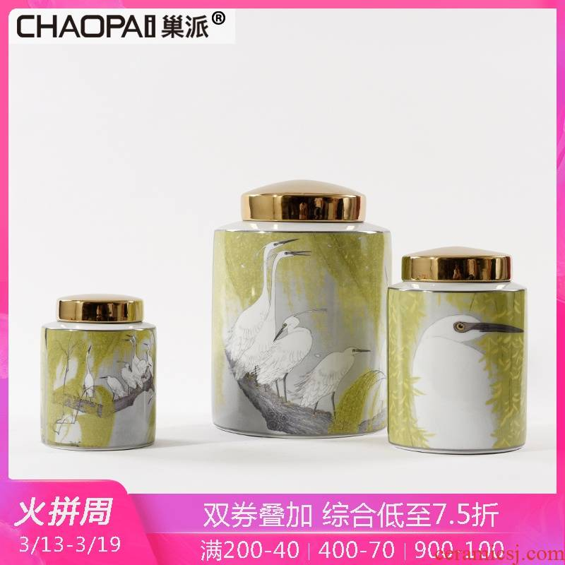 New Chinese style ikea style ceramic decorative tin crafts home sitting room TV cabinet shop window display decoration
