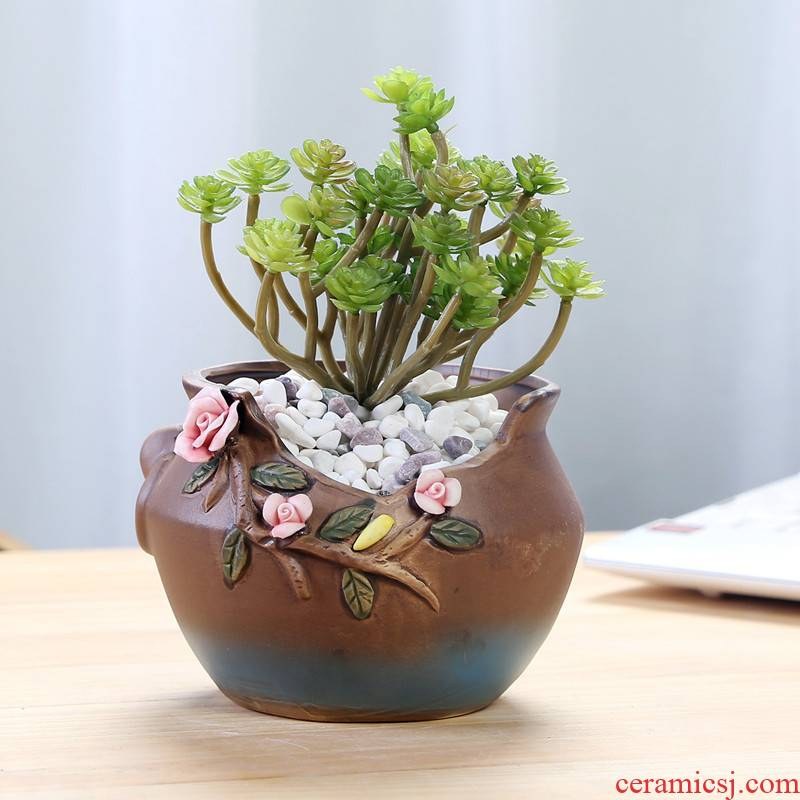 Hand, spend more meat pot ceramic meat meat the plants flower pot creative brief, coarse pottery money plant size flowerpot clearance