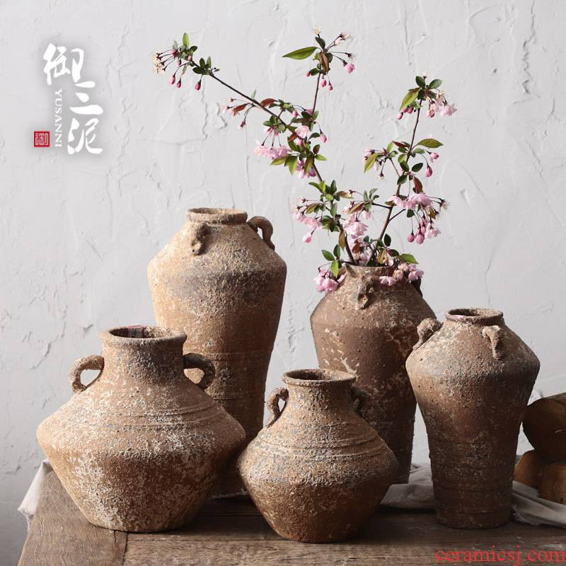 Manual coarse TaoHua is more than flesh POTS of jingdezhen ceramic dry flower vase hand made Japanese teahouse zen flowerpot