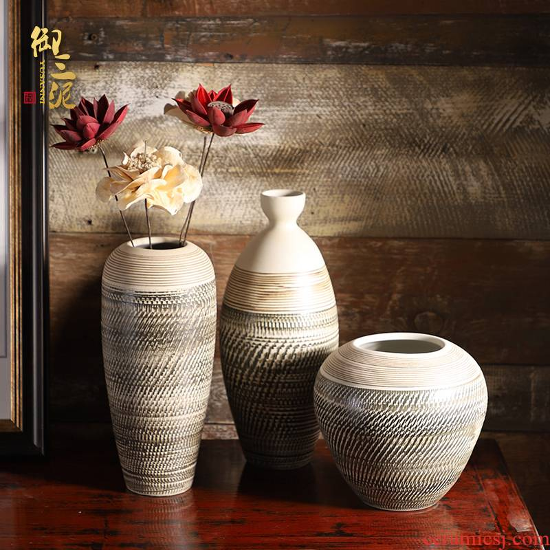 Jingdezhen ceramic small pure and fresh and coarse pottery small sitting room flower arranging furnishing articles dried flower vase soil desktop hydroponic flowers