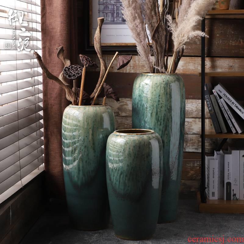 Vase furnishing articles flower arranging large sitting room ground jingdezhen ceramic checking contracted Nordic artical Vase
