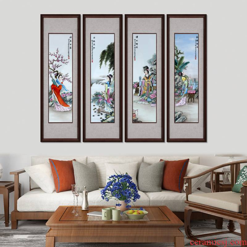 Jingdezhen porcelain plate the four most beautiful women four Chinese style screen painting the living room with ceramic wall hanging hangs a picture box porch hang mural
