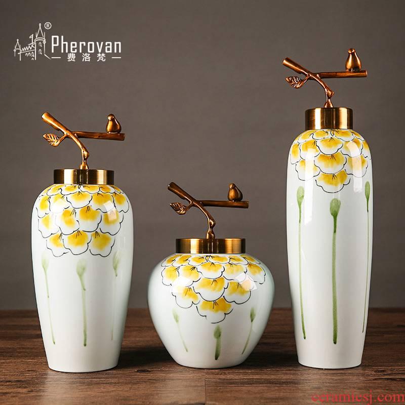European home furnishing articles example room decorations desktop decoration ceramic vases, flower art simulation flower decoration suit