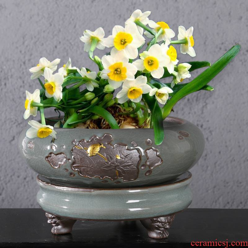 Chinese wind brother refers to flower pot ceramic up creative interior furnishing articles without hydroponic pot hole, large copper grass with base