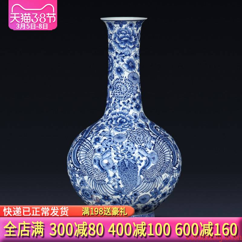 Jingdezhen ceramics imitation qianlong hand - made of blue and white porcelain vases, flower arranging new Chinese style living room home furnishing articles