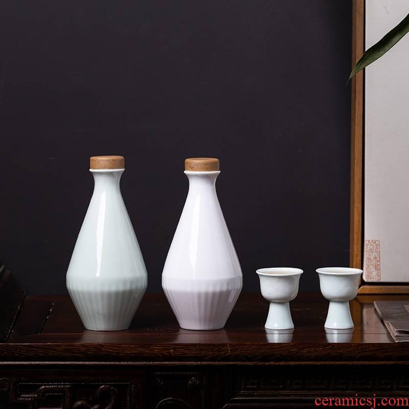 Jingdezhen ceramic bottle archaize jars half jins to empty bottles household creative custom hip flask little wine jar