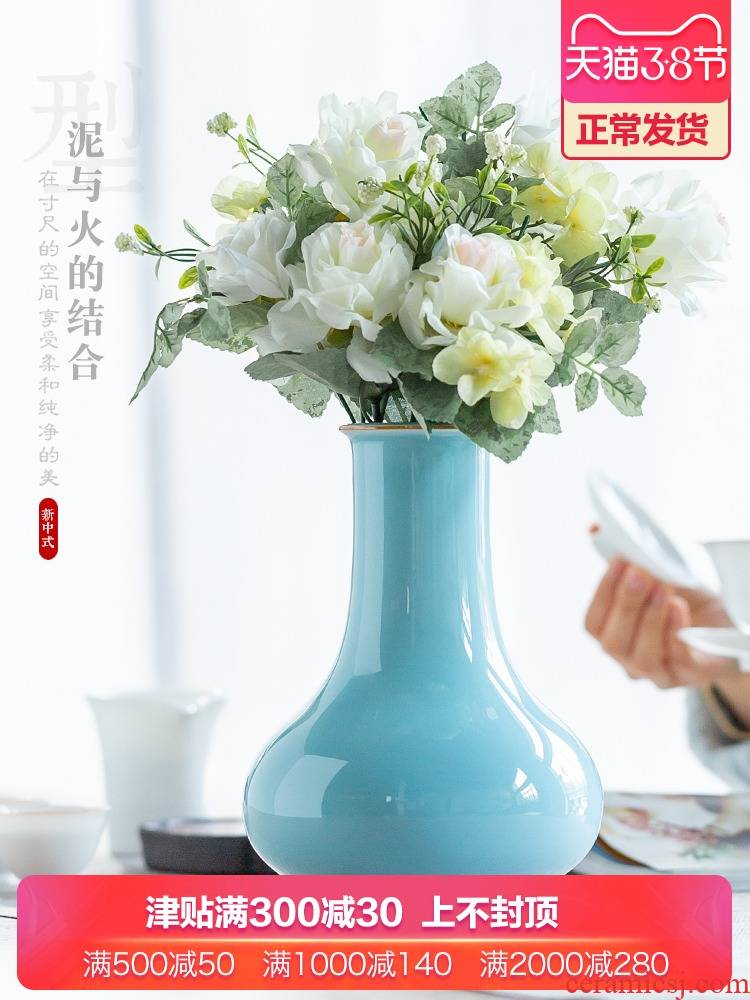 Jingdezhen ceramics creative modern shadow blue glaze sitting room put dry vase of new Chinese style household soft adornment is placed
