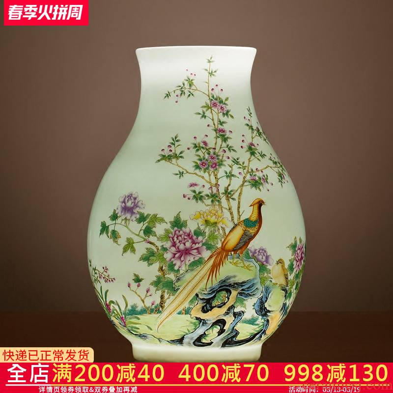 Jingdezhen ceramics wide expressions using lucky bamboo vase dry flower arranging rich ancient frame sitting room adornment of Chinese style household furnishing articles