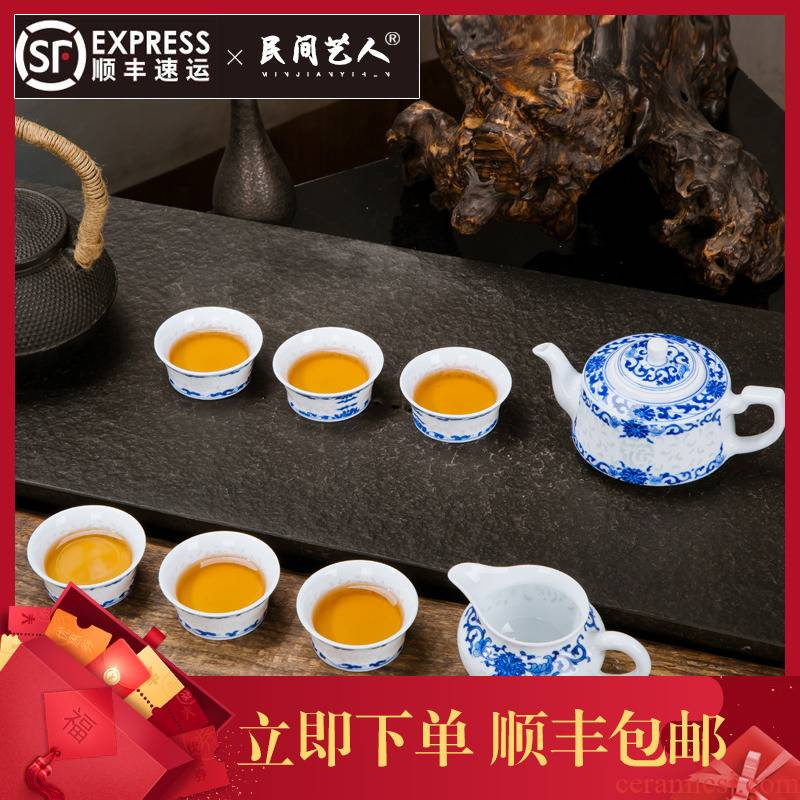 Jingdezhen blue and white and exquisite ceramic tea set a complete set of hand - made of ceramic fair kung fu tea cup teapot suit