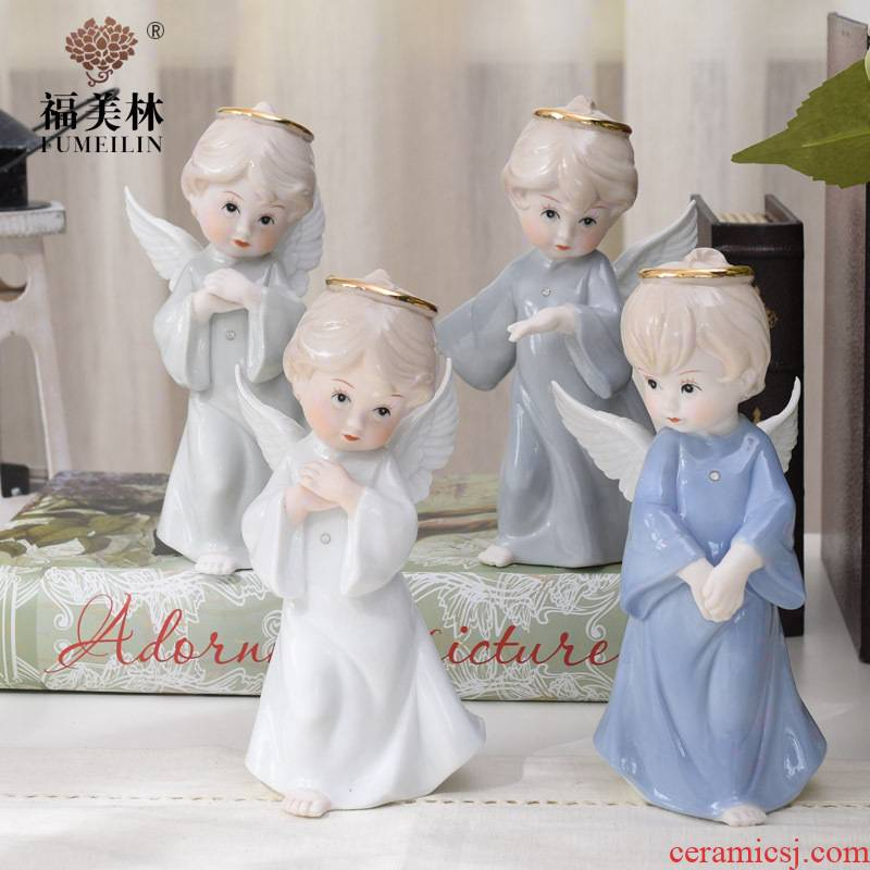 European ceramic figures angel decoration wine porch decoration furnishing articles household act the role ofing is tasted creative wedding gift