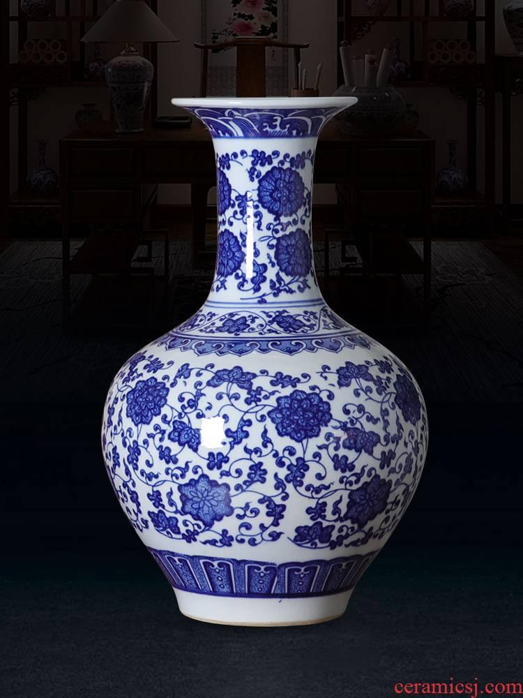 Jingdezhen ceramic blue and white porcelain vase furnishing articles sitting room flower arranging flower implement new Chinese style household adornment porcelain vases