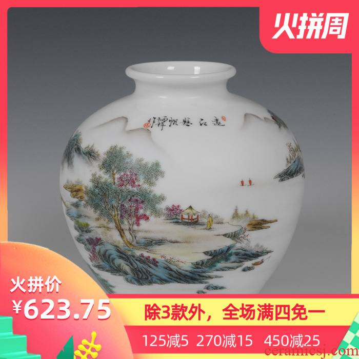 Jingdezhen ceramics famous Zhang Bingxiang hand - made famille rose porcelain vase pomegranate landscape figure collection certificate the ancient philosophers