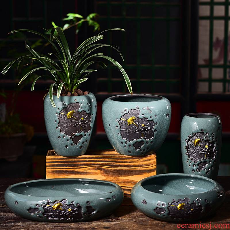 Creative bracketplant potted bonsai POTS ceramic orchid Chinese wind indoor household green the plants other pot container