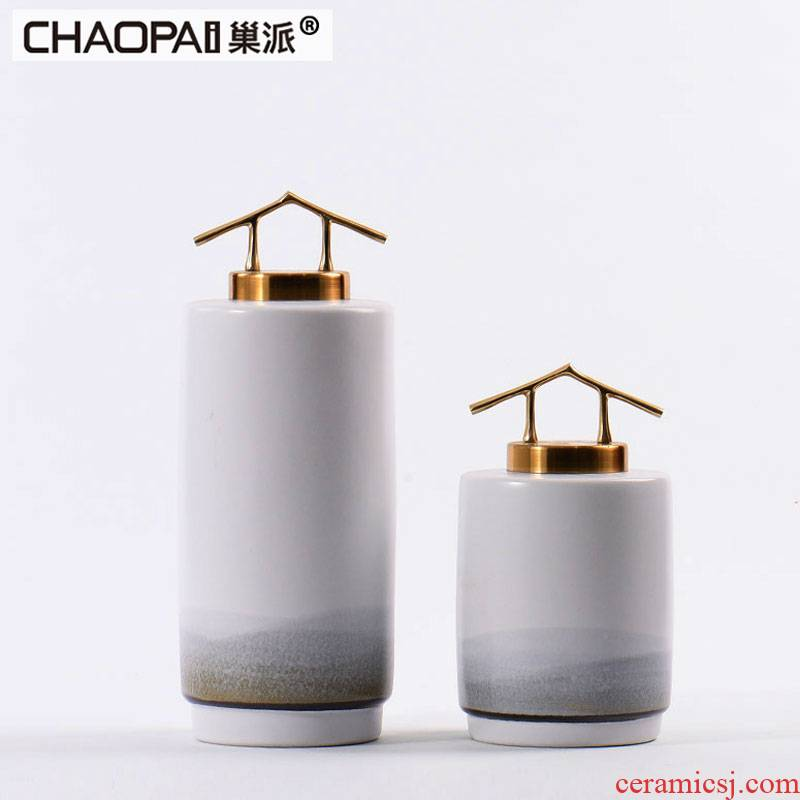 Modern new Chinese porcelain pot furnishing articles example room hotel soft adornment rich ancient frame central scroll sitting room tea table decoration
