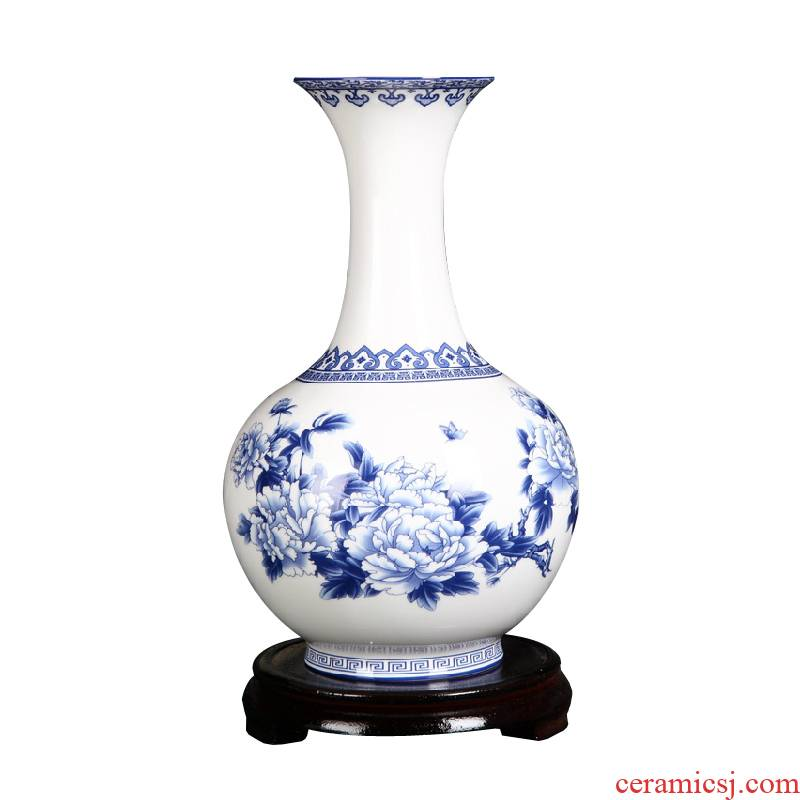 Small design blue and white porcelain vase peony flowers prosperous household act the role ofing is tasted furnishing articles ceramic craft gift