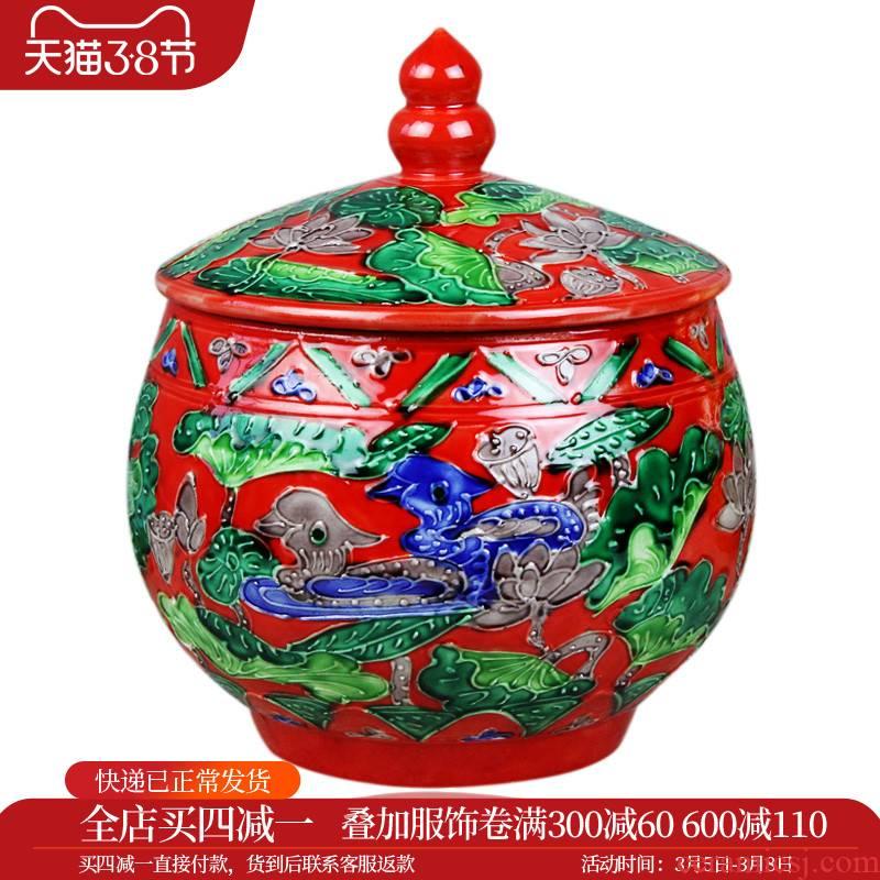Cj7 merry jingdezhen ceramic Chinese red yuanyang anaglyph caddy fixings jar storage tank of handicraft