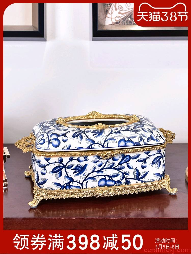 New Chinese style restoring ancient ways ceramic tissue box European - style key-2 luxury living room smoke box home household decorative paper box of furnishing articles