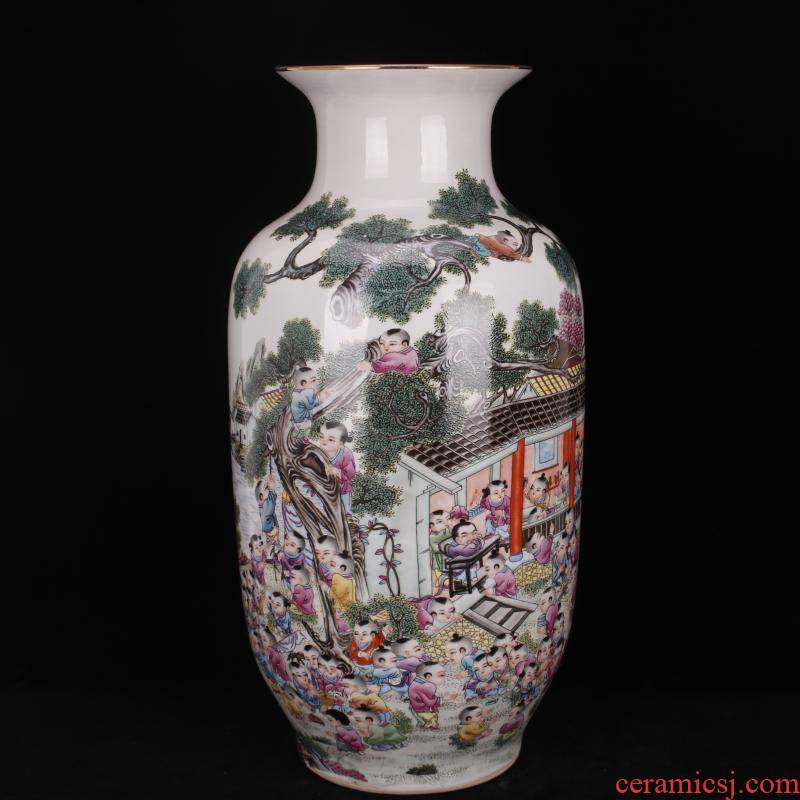 Jingdezhen landing big vase pastel the ancient philosophers figure idea gourd bottle of Chinese style household living room decor furnishing articles of the company