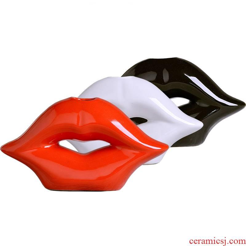 Creative home furnishing articles sitting room ark, flower decoration wedding gift desktop ceramics, lips