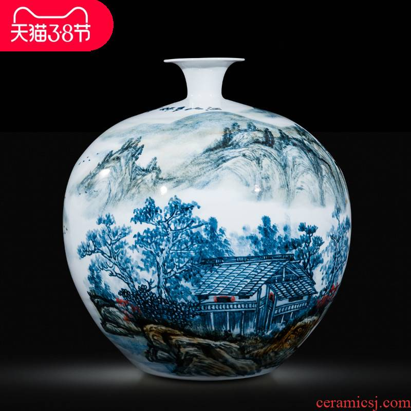 Jingdezhen ceramic celebrity master hand draw more than jiangshan jiao large vase home decoration villa hotel furnishing articles